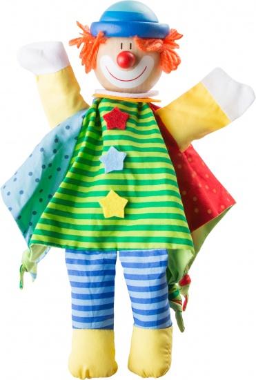 Small Foot Handpop Clown 32 cm groen/blauw