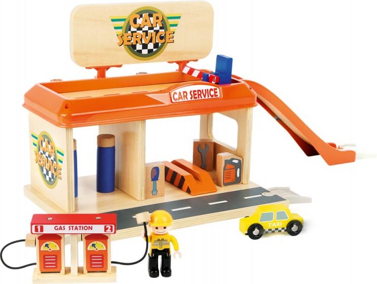 Small foot houten auto garage met tankstation 13 delig 192270