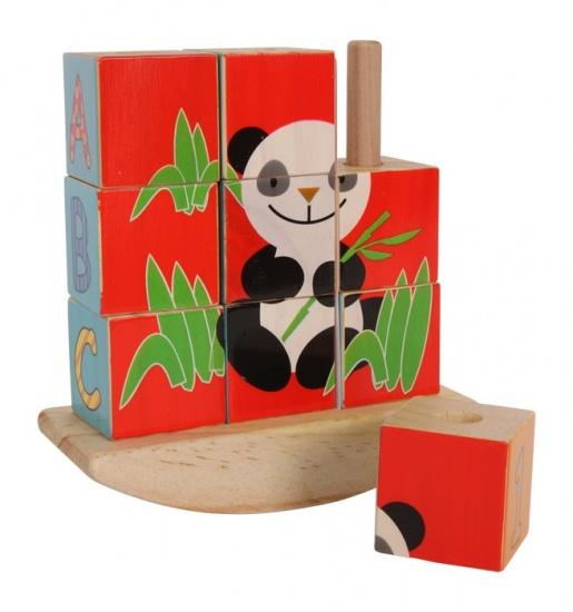 Small Foot Houten Blokpuzzel Schommel Panda en Olifant