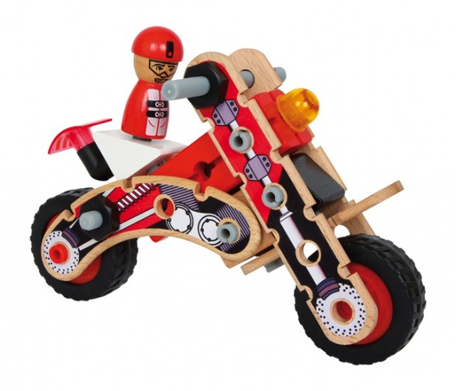 Small Foot houten constructieset racer blank 21x10x15 cm