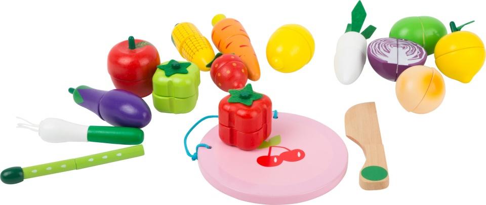 Small Foot houten groenten en fruit met magneet 17 delig