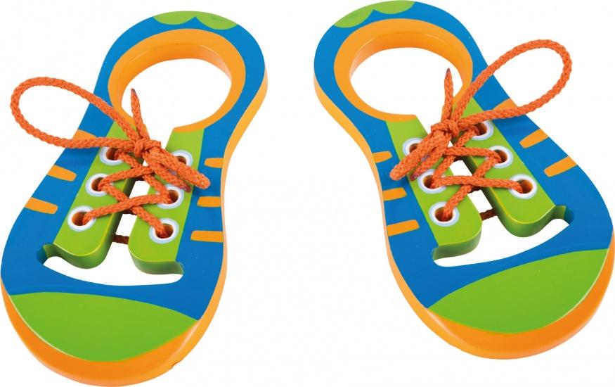 Small Foot Houten Veterschoenen junior blauw/groen