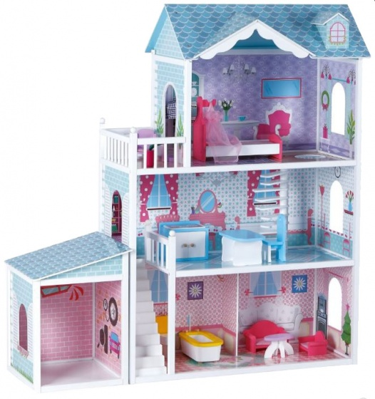 Small Foot houten vila deluxe 123 cm roze-blauw