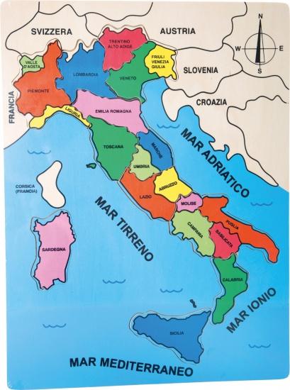 Small Foot Itali� geografie puzzel 30 x 40 cm hout 13 stukjes