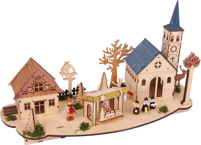 Small Foot Kerstdecoratie Oude Binnenstad Hout 53 X 20 cm