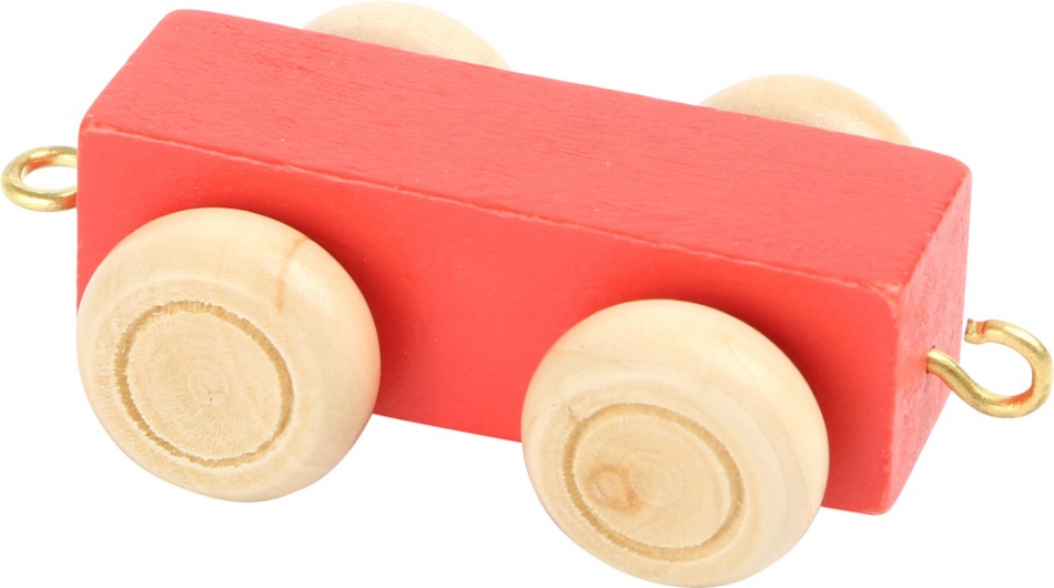 Small Foot lettertrein wagon rood 6,5 x 3 x 1,5 cm