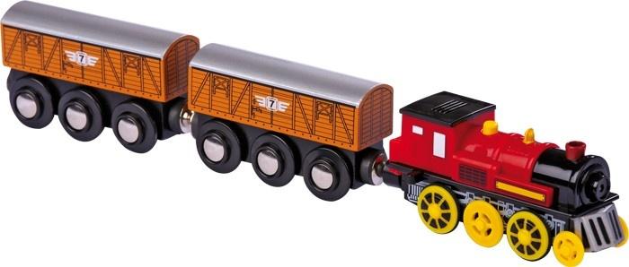 Small Foot Locomotief Elektrisch Met Twee Wagons