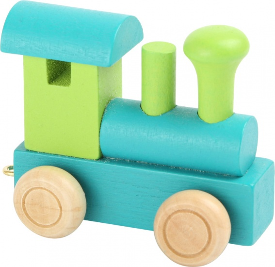 Small Foot locomotief hout groen/blauw 7 x 3 x 5,5 cm