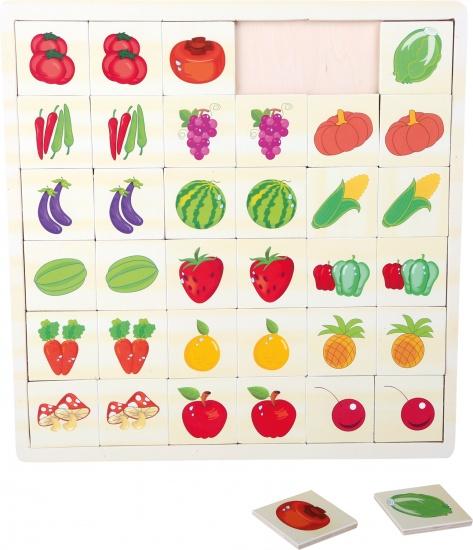 Small Foot Memory puzzel 30 x 29 cm groente/fruit 36 stukjes