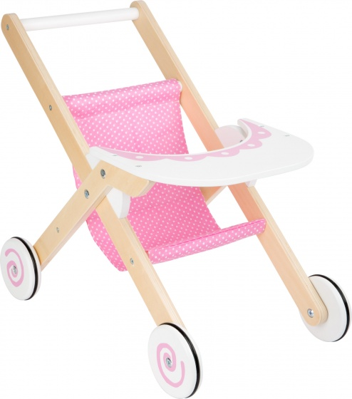 Small Foot poppenbuggy roze hout 50 x 33 cm