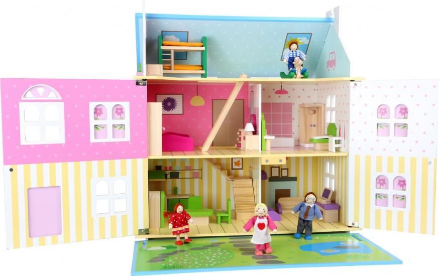 Small Foot poppenhuis meisjes blauw hout 55 x 36 x 60 cm