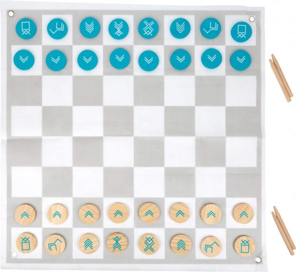 Small Foot schaak en damset junior 85 cm hout blauw/grijs/wit