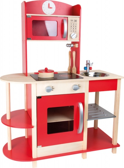 Small Foot speelgoedkeuken hout rood 78 x 34 x 106 cm