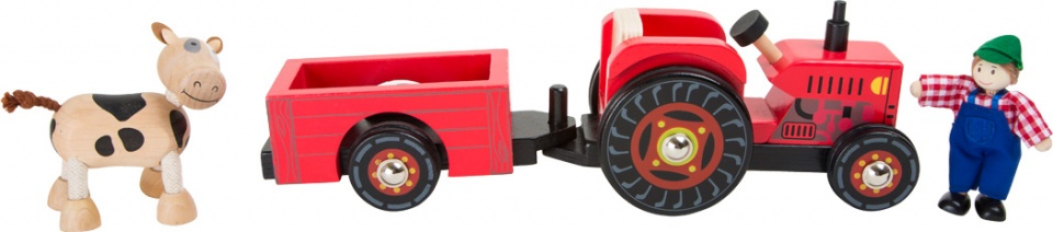 Small Foot tractor met trailer hout 4 delig
