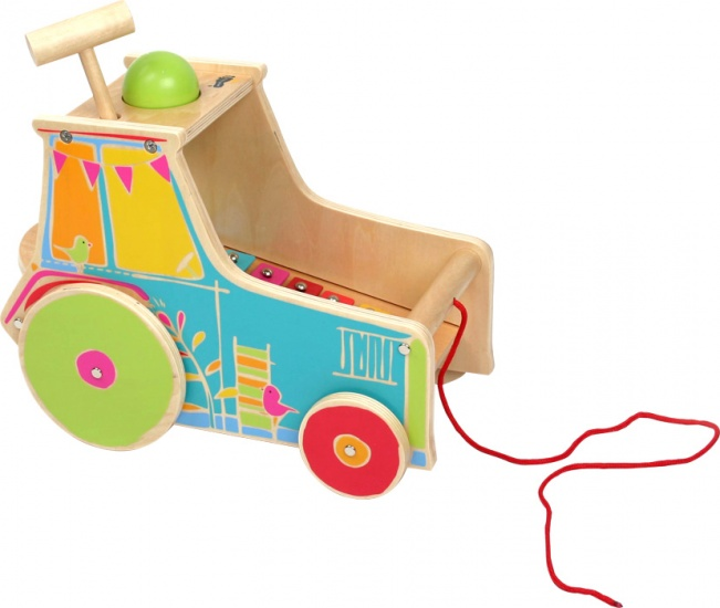 Small Foot tractor met xylofoon hout 28 x 15 x 21 cm