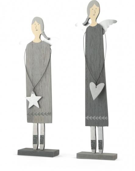 Small Foot Decoratie engelen grijs hout 30 cm 2 stuks