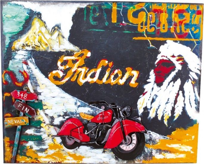 Small Foot vintage decoratie blikbord indian motorcycle