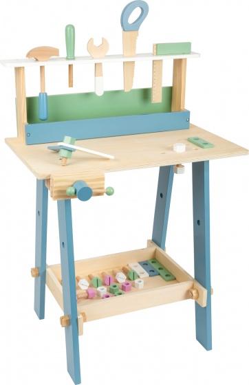 Small Foot werkbank Nordic junior hout 74 cm blank/blauw/groen