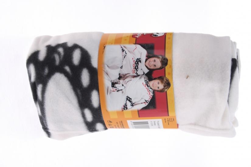 Snoopy plaid fleece deken wit 120 x 120 cm