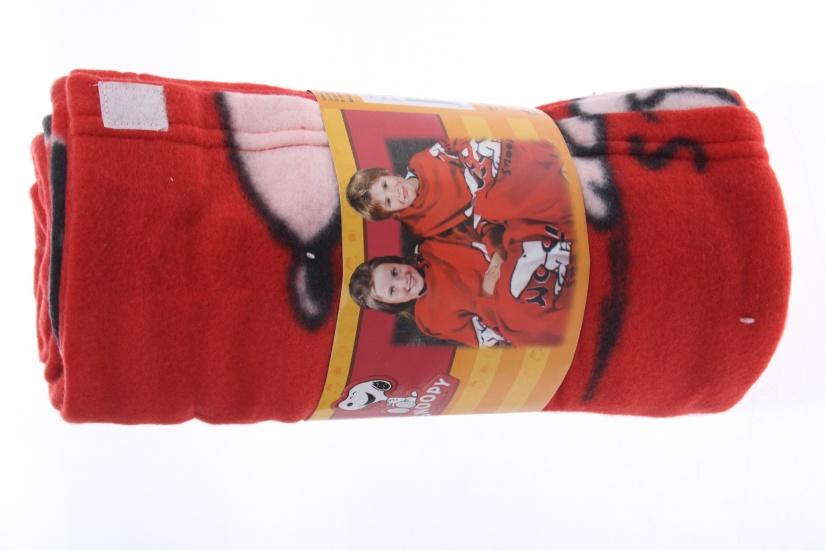 Snoopy plaid fleece deken rood 120 x 120 cm