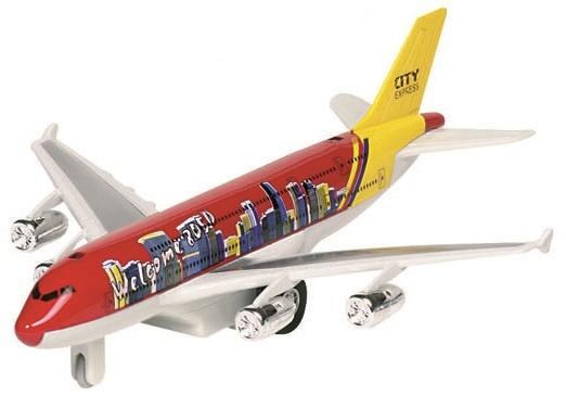 Goki Metalen Vliegtuig: City Express Rood