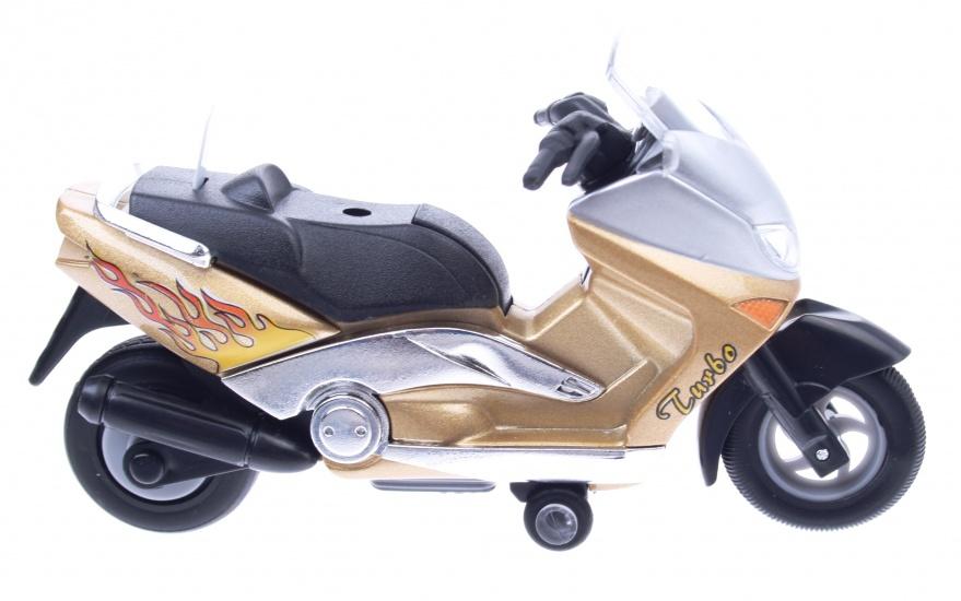 Goki Metalen Motor: Motorfiets 12,5 cm Goud