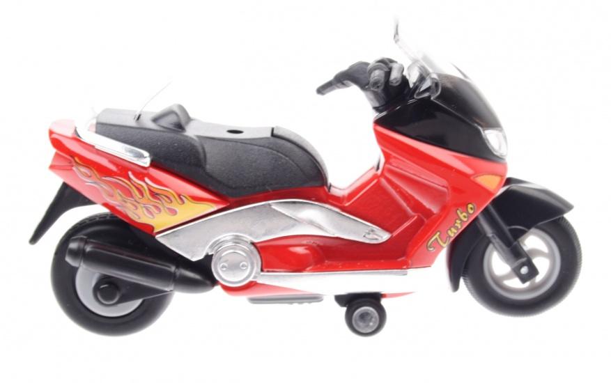 Goki Metalen Motor: Motorfiets 12,5 cm Rood