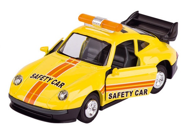 Goki Metalen Veiligheidsauto: Geel14,5 cm