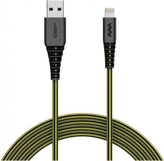SoSkild laadkabel USB A-Lightning 1.5 m nylon zwart-geel