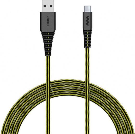 SoSkild laadkabel USB C 1.5 m nylon zwart-geel