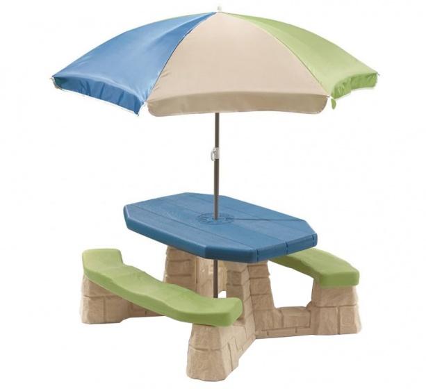 Step2 Picknicktafel met parasol (aqua)