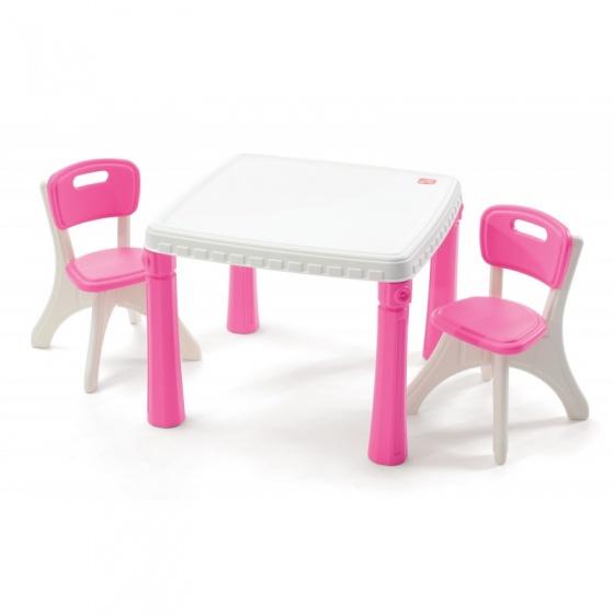 Step2 LifeStyle tafel en stoelen roze/wit