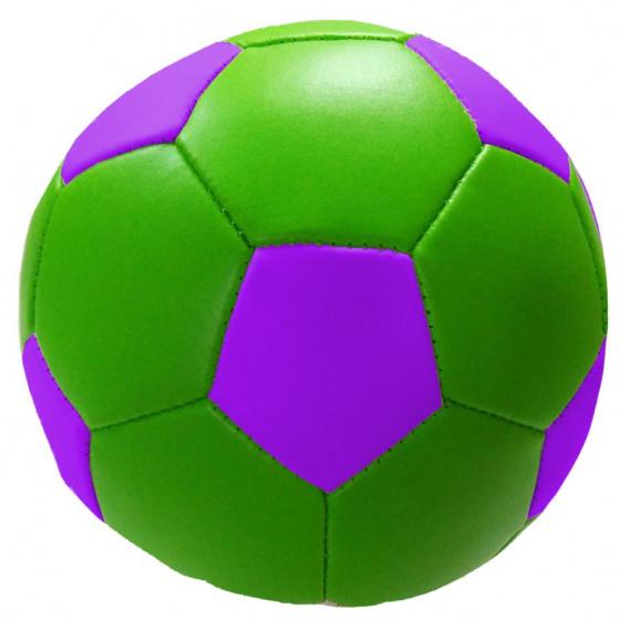 Stop & Look speelbal Soft junior 10 cm kunstleer groen/paars