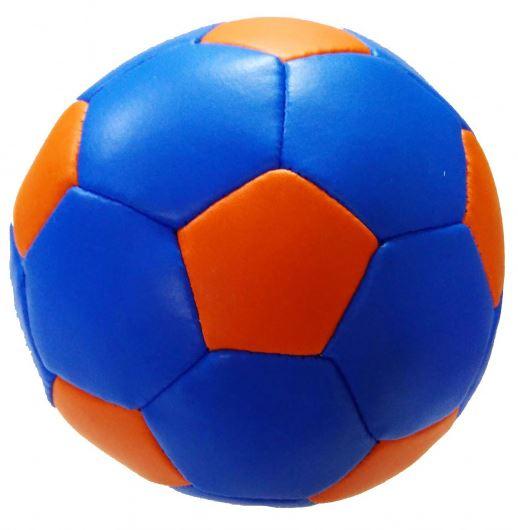 Stop & Look speelbal Soft junior 10 cm kunstleer blauw/oranje