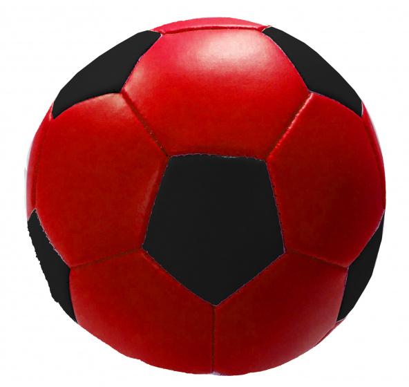 Stop & Look speelbal Soft junior 10 cm kunstleer rood/zwart
