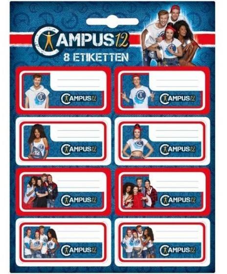 Studio 100 etiketten Campus 12 blauw/rood 8 stuks