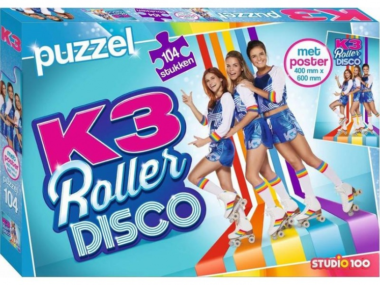 Studio 100 legpuzzel K3 Rollerdisco meisjes 104 stukjes