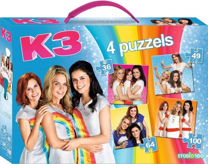 Studio 100 puzzelkoffer 4 in 1 K3 249 stukjes