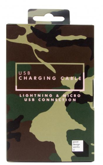 Suck UK USB telefoonkabel 99 x 1,7 cm textiel camouflage groen
