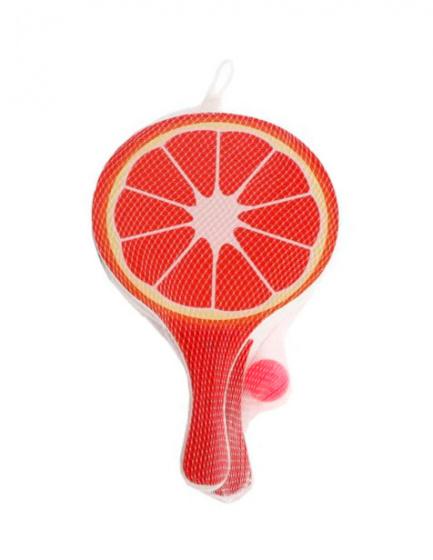Sun Fun beachballset fruit 38 x 24 cm hout rood 3 delig