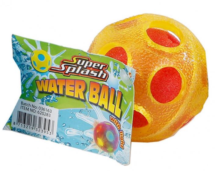 Super Splash waterbal met licht junior 6,5 cm spons geel