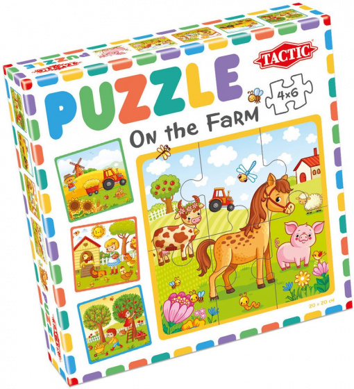 Tactic puzzel On the Farm junior 20 x 20 cm karton 4 delig