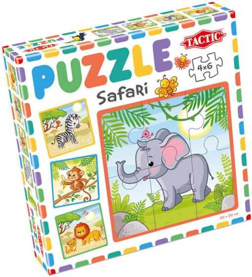 Tactic puzzel Safari junior 20 x 20 cm karton 4 delig
