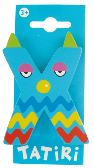 Tatiri houten letter dierenalfabet X blauw 7 cm
