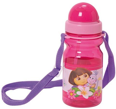 Nickelodeon Dora Bidon met rietje 350 ml roze/paars kunststof