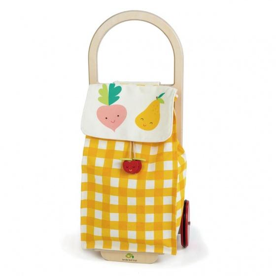 Tender Toys boodschappentrolley geel/wit junior 29 x 24 x 63 cm