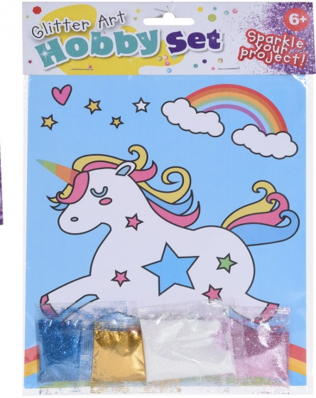 Tender Toys eenhoorn tekening met glitter 21 cm