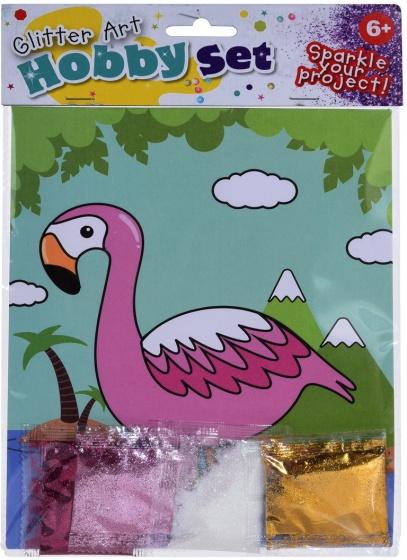 Tender Toys flamingo tekening met glitter 21 cm