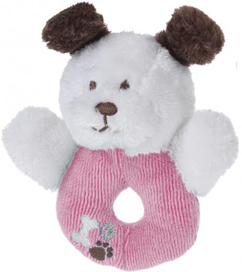 Tender Toys grijpring hondje pluche 12 cm roze/wit
