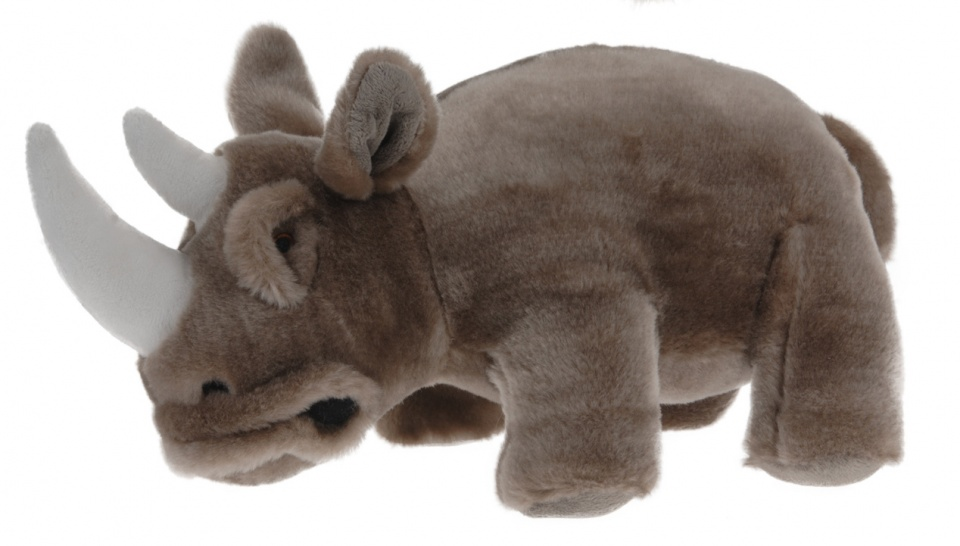 Tender Toys knuffel neushoorn 30 cm pluche bruin/wit